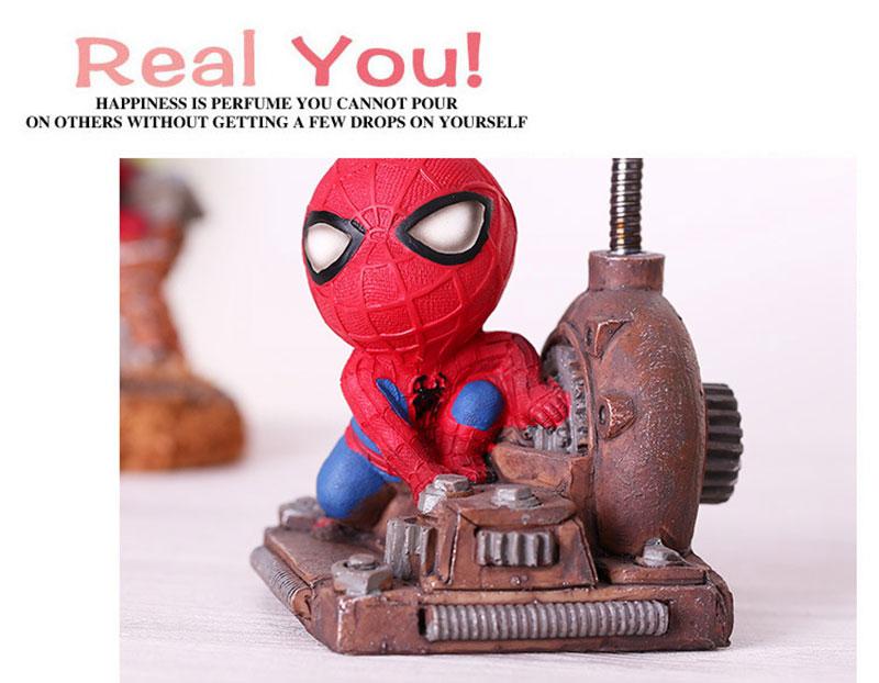 Cartoon Avengers Action Figures Spider Man Night Lamp Resin Children Bedroom LED Night Light for Boy Kids Xmas Creative Gift (7)
