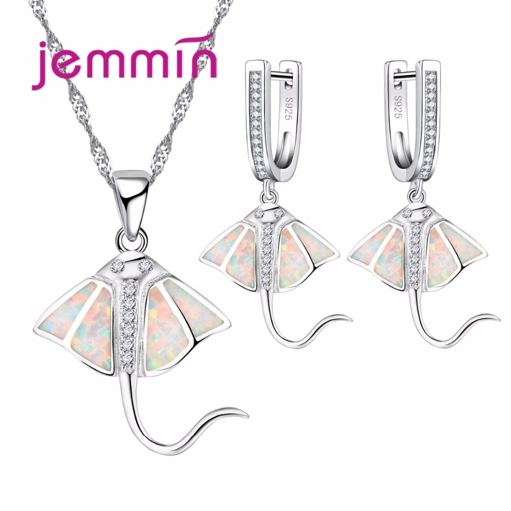 Jemmin 925 Sterling Silver Necklace Earrings Set For Women Party Accessory Fine White Opal Rhinestone Jewelry Sets For Birthday gorgeous wishbone eye rhinestone faux opal necklace for women