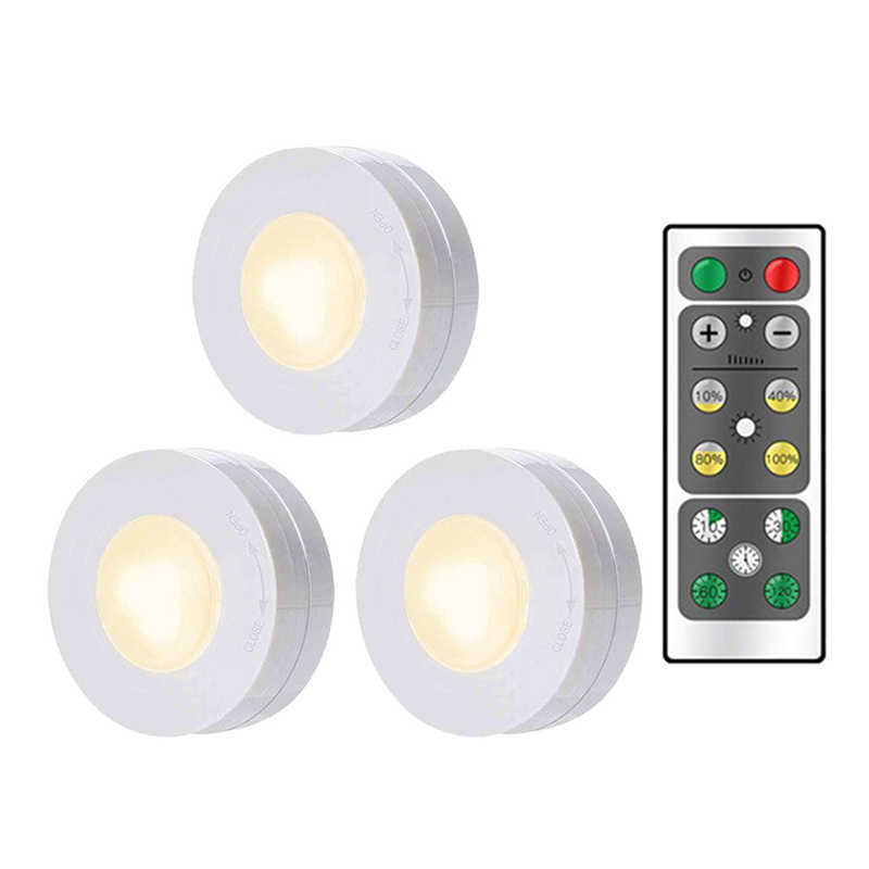 Dimmable Touch Sensor LED Under Cabinets lights Wireless control LED Puck Lights For Close Wardrobe Stair Hallway Night lamp