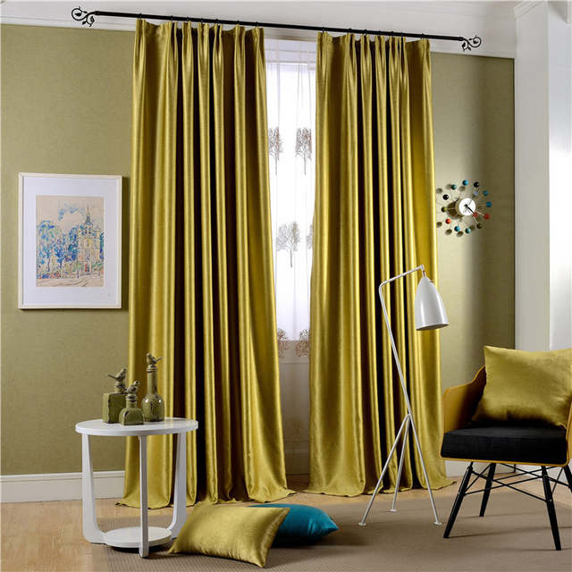 Modern Brief Style Solid Blockout Cloth Curtain Embroidered