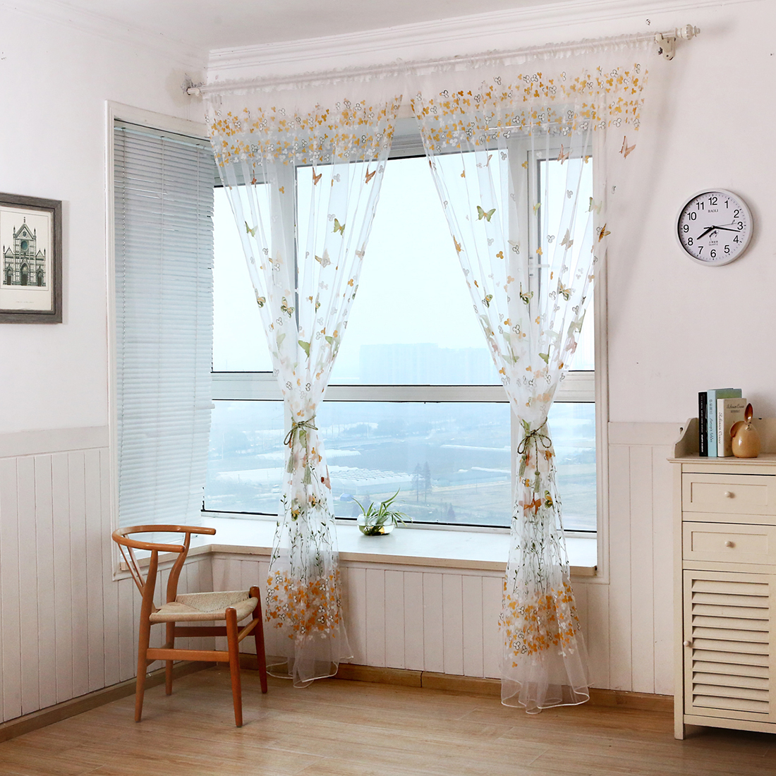 Room floral tulle window curtain drape panel decal scarf val.