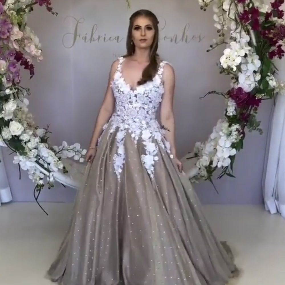 2019   Prom     Dresses   Hand Made Flowers Deep V Neck Lace Appliques Flowers 3D Flowers Pearls A Line Evening Gowns   Dress