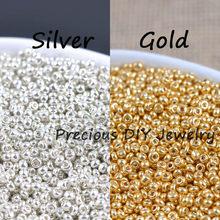 Contas espaçadoras de vidro de cristal de ouro e prata, 500 unidades, contas de semente checas para jóias feitas à mão diy bluv03x