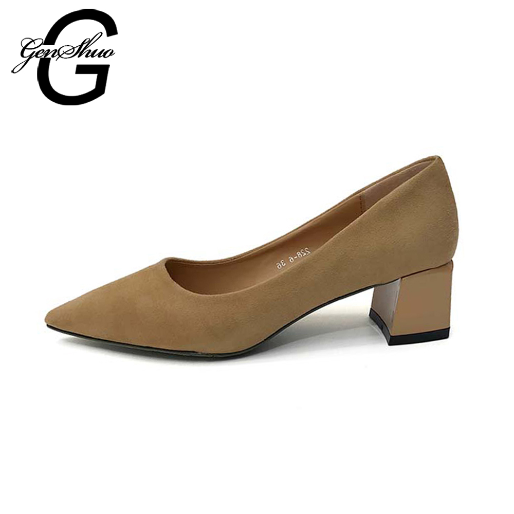 011814847e9 GENSHUO Women Shoes Ladies High Heels Brown Black Work Shoes Thick Heel  Pumps Lady Shoes Black Block Heels Chunky Classic Pumps