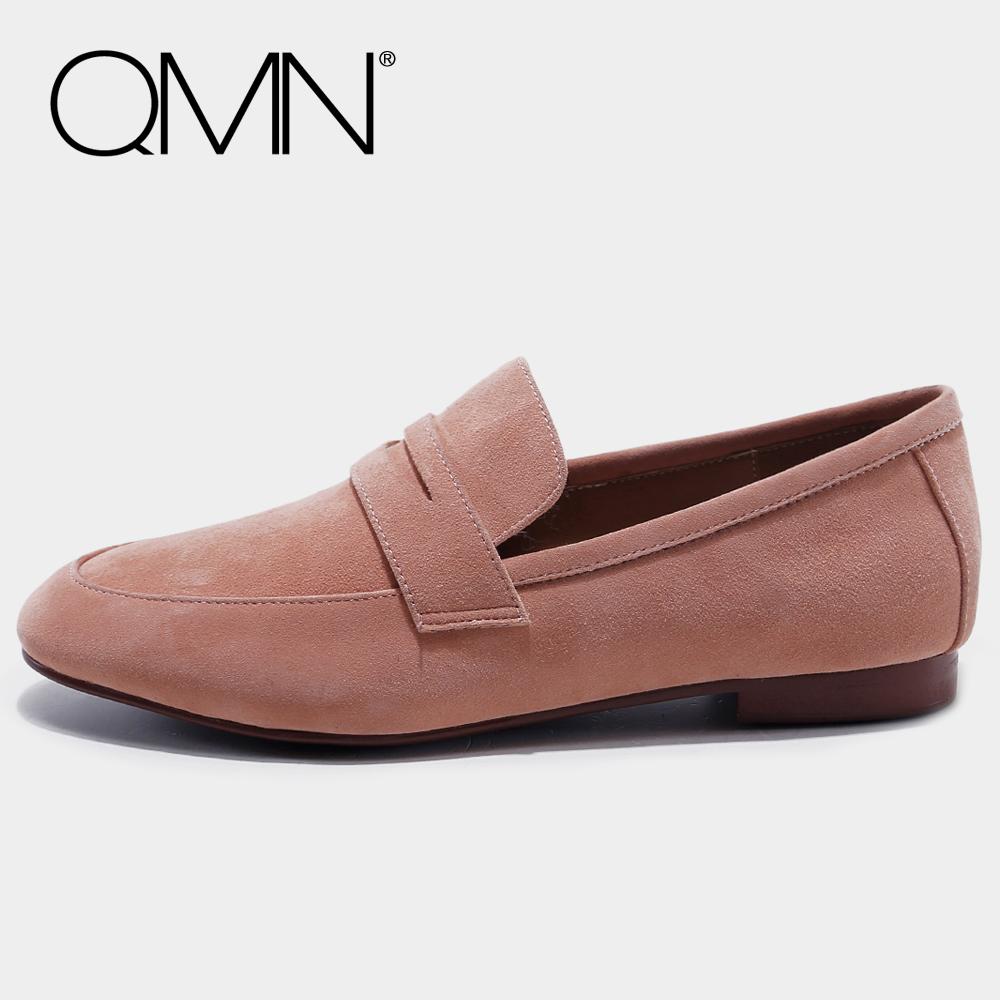 QMN women genuine leather moccasins for Women Natural Suede Leather Loafers Slip On Shoes Woman Flats Zapatos Mujer 34-39 qmn women crystal embellished natural suede brogue shoes women square toe platform oxfords shoes woman genuine leather flats