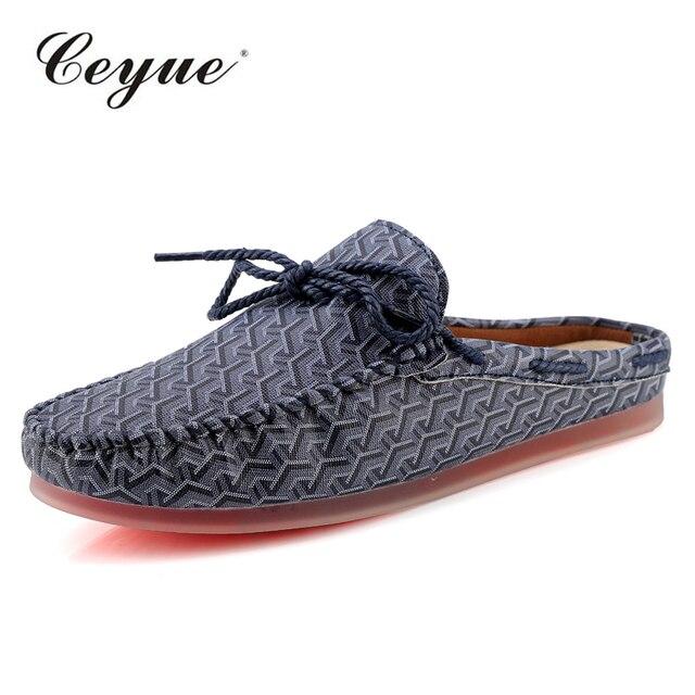 2018 verano hombres zapatos Casual marca de lujo Mens mocasines cuero medio deslizador italiano conducción zapatos hombres mocasines