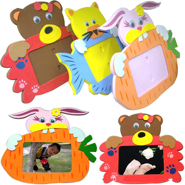 5 Style Frame Foam Craft Kits Easy Crafts Eva Sticky Sticker Animal Photo Frames Kids Child