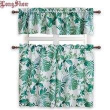 1 Set 3 pcs Home Decorative Modern Palm Leaves Design Rod Pocket Super Smooth Jacquard Kitchen Curtains