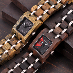 Image 3 - BOBO BIRD montre femme Wooden Womens Watches Top Fashion Square Dial Watch Collection for Ladies Stainless Steel Wristwatch S03