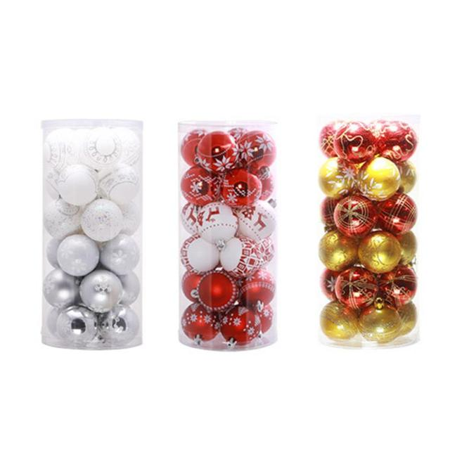 24pcsset christmas balls big christmas tree decoration balls xmas home hangings decorations navidad size