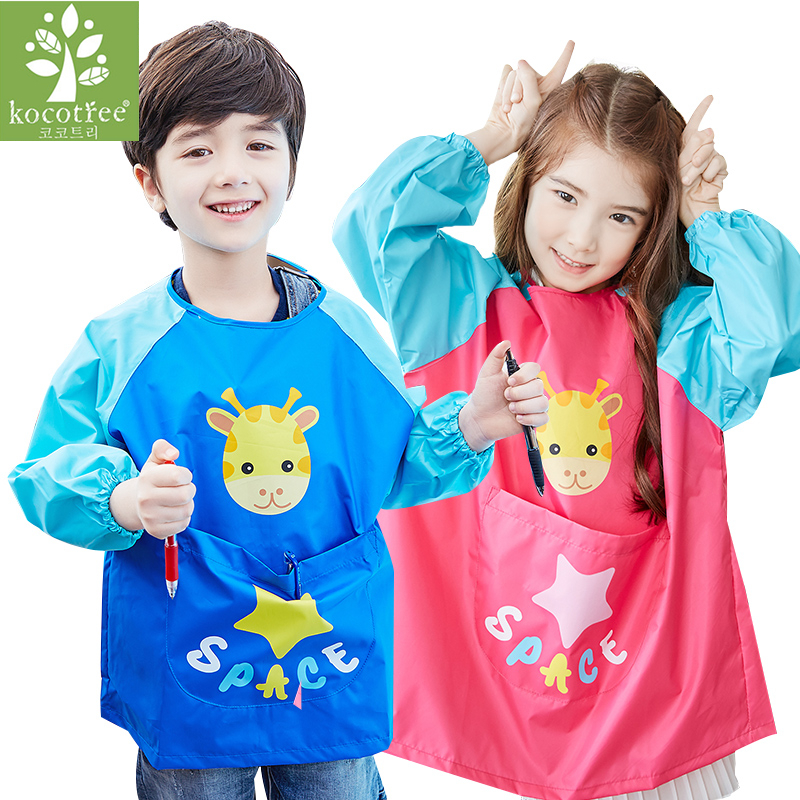 Waterproof Baby Girl Boy Long Sleeve Cartoon Animal Bibs Art Apron and Smock Waterproof Anti Dirt Kindergarten Painting Clothing