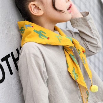 Korea Handmade Print Plush ball Bear Triangular bandage Kids Children Girl Scarf Wrap Fall Winter Apparel Accessories-OZKSF003C5