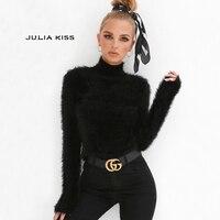 Women Turtleneck Fit On Fuzzy Sweater