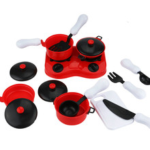 15 Pcs/set Mini Plastic Simulation tableware Kitchen pots and pans dishes glasses cutlery for doll Red color