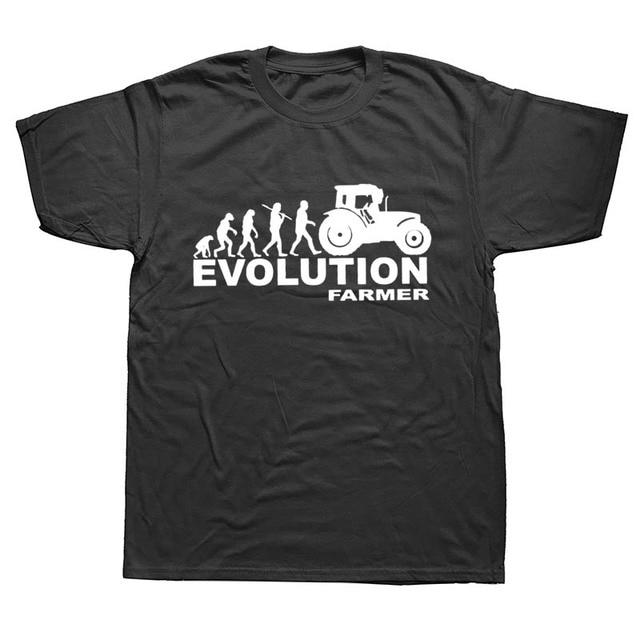 Baru Musim Panas Mode Evolusi Traktor T Kemeja Pria Lengan Pendek Katun Lahir untuk Pertanian Kaos Atasan Camisetas Petani Tshirt