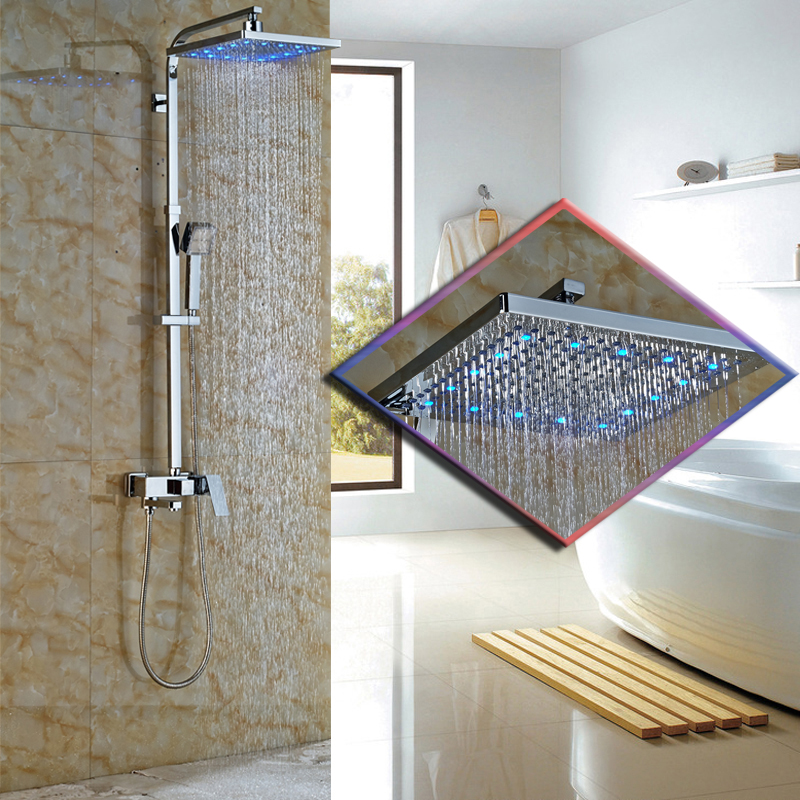 Led Light Luxury 12 Big Rain Shower Faucet Chrome Finish Bathroom