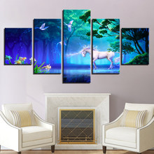 Modern Wall Art Canvas HD Prints Poster Framework 5 Pieces White Horse Animals Painting Dream Forest Unicorn Pictures Home Decor(China)