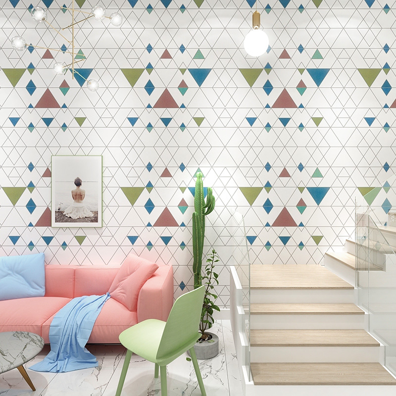Noridc Geometric Wall Papers Home Decor White Rhombus Wallpaper Roll for Living Room Bedroom Decoration Mural
