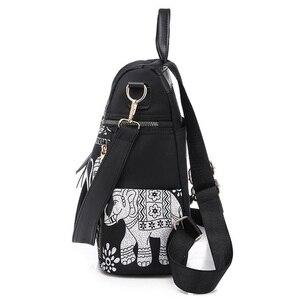 Image 4 - Fashion Anti theft Women Elephant Print Backpacks Ladies Large Capacity Shoulder Bags Waterproof Oxford and PU School Travel Bag