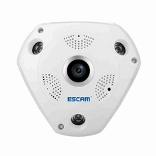 ESCAM QP180 960P Panoramic WiFi IP Camera 1.3MP HD Fisheye Home Security Camera with Two-way Audio, IR Night Vision