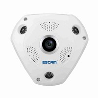 ESCAM QP180 960P Panoramic WiFi IP Camera 1.3MP HD Fisheye Home Security Camera with Two way Audio, IR Night Vision