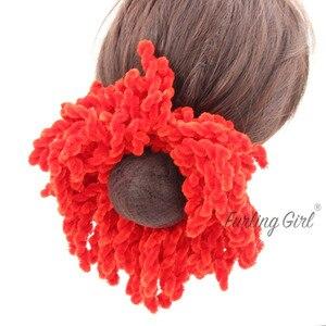 Image 5 - Пушистая девочка, 1 шт., мусульманские женские модные резинки, эластичные резинки для волос, большой размер, вязаные шерстяные волосы, конский хвост, держатель для пучков