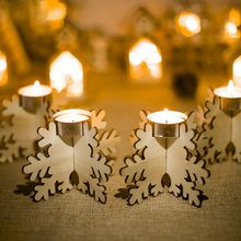 4Pcs Wooden Snowflake Christmas Candlestick Home Decoration Ornaments Candle Accessories