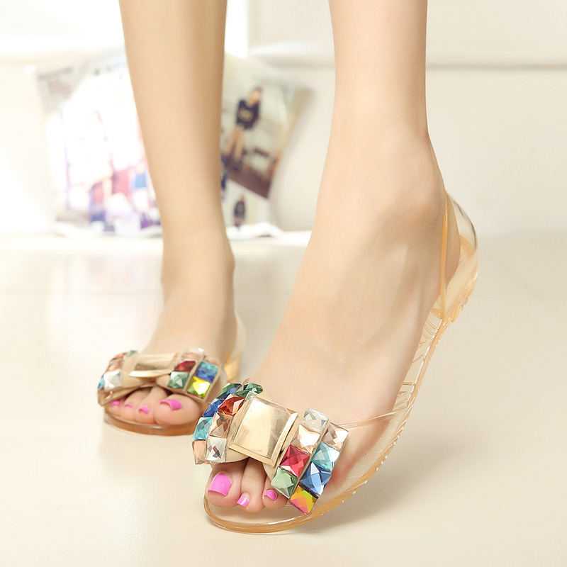 Women Sandals Summer Jelly Shoes Bowtie Flat Sandals Fashion Peep Toe Woman Crystal Ladies Shoes marlong women sandals summer new candy color women shoes peep toe stappy beach valentine rainbow jelly shoes woman