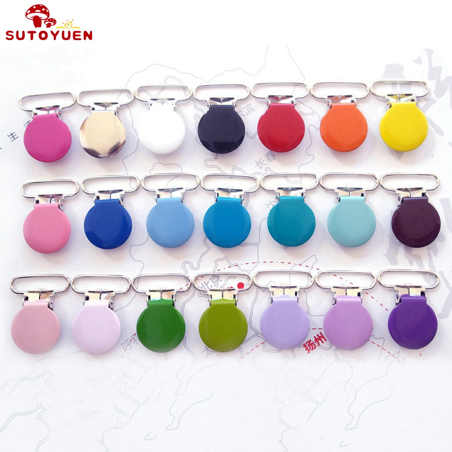 80PCs Metal Round Pacifier Clips Enamel Suspender Clip For Baby Holder Cute Infant Soother Clasps Funny