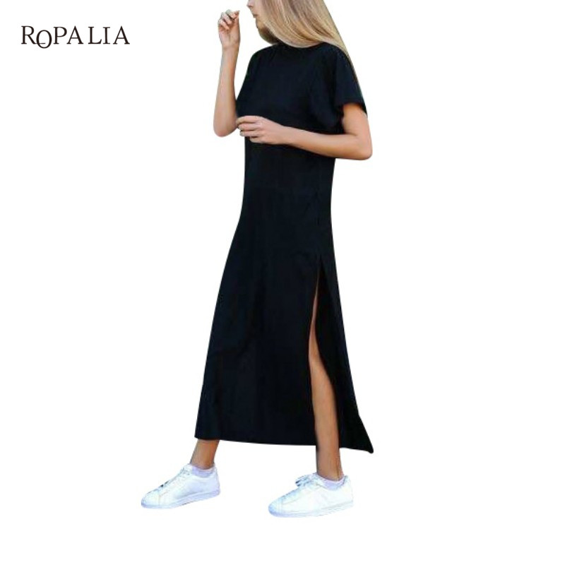 ROPALIA Summer Women Dresses Series Spring Solid Fitness Knitted Sweater Dress Casual Bodycon Slim Midi Vestidos Y7