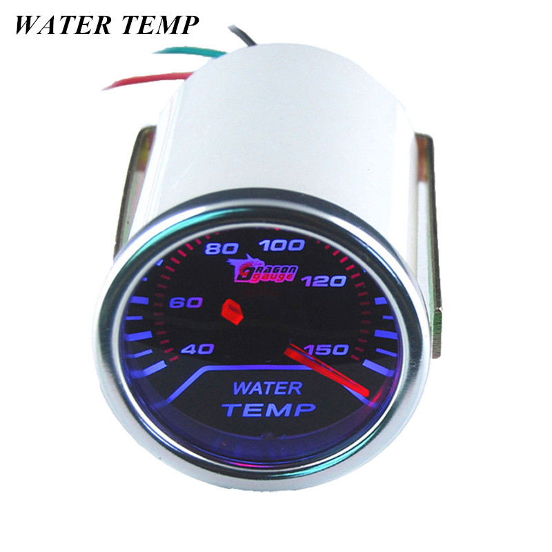 "EE-understøttelse Universal Automobile Clock White Shell Pointer 2 ""52mm Røg Len LED Vand Temp Gauge Biltemperatur Meter Celsius"
