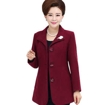 2019 Hot Sale L-5XL Middle-aged Elegant Blend High Quality Women Cashmere Coat Female Warm Outwear Plus Size Mother JacketsXH115 - DISCOUNT ITEM  50% OFF All Category