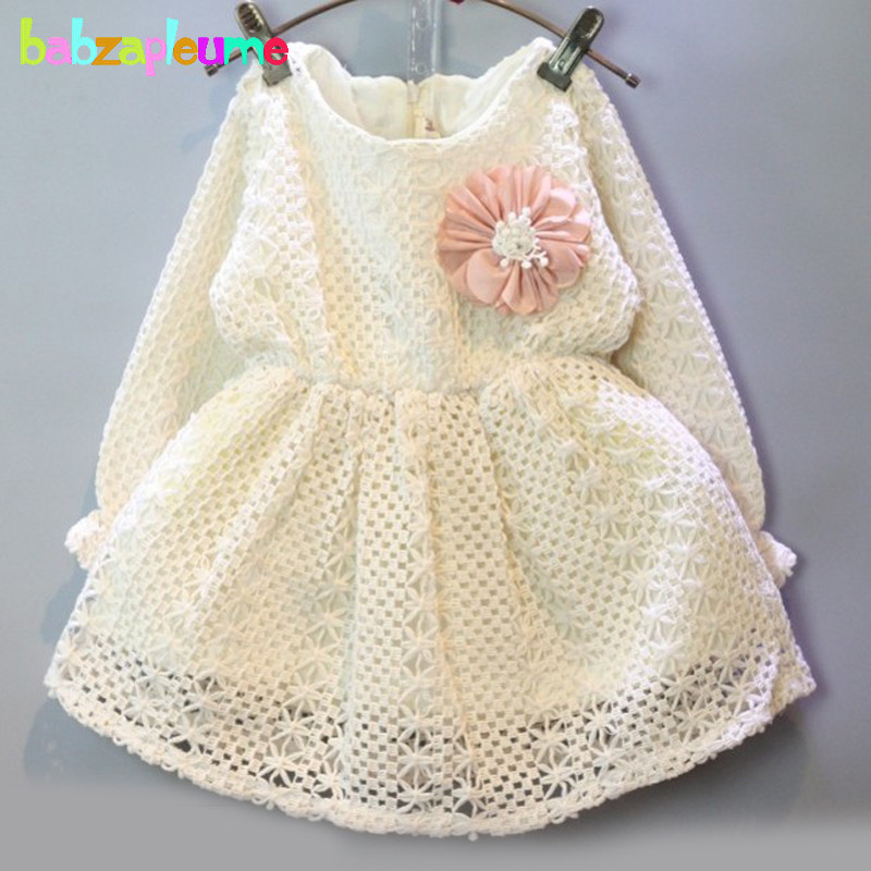 2 6Years Spring Autumn Baby Girls Dress Kids Clothes Long Sleeve Princess Beige Toddler Dresses Flowers