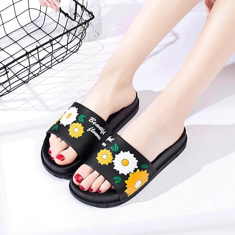 Sunflower Slippers Women Floral Print Beach Sandals Summer -2833