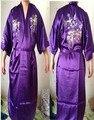 Фиолетовый женская Вышивает пижамы халат платье Женское Белье Пижамы Кимоно Атласное Одеяние Халат размер: S, M, L, XL, XXL XXXL