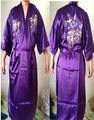 Roxo pijamas veste de Banho vestido Sleepwear Lingerie Quimono das Mulheres Bordar Cetim Roupão de banho tamanho S M L XL XXL XXXL