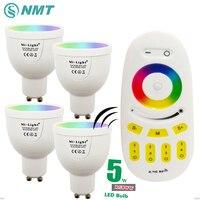 MiLight Żarówka LED GU10 220 V RGBW RGBWW 5 W Możliwość Przyciemniania Lampy światło 86-265 V Spotlight Kryty + 2.4G RF Wireless Remote kontrola