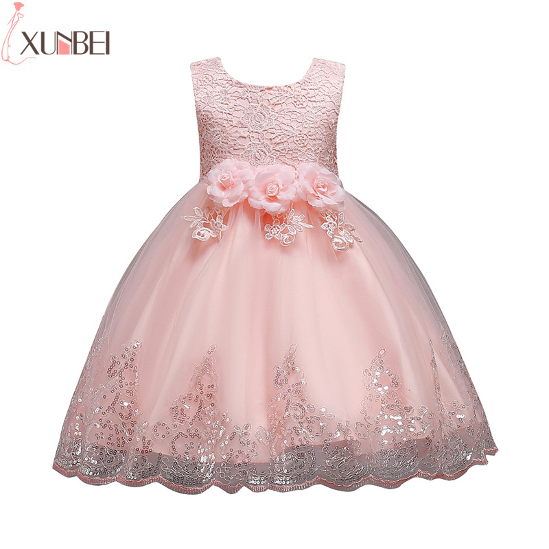 Lovely   Flower     Girl     Dresses   Lace 2019 Appliqued Pageant   Dresses   For   Girls   First Communion   Dresses   Tulle Kids Prom   Dresses