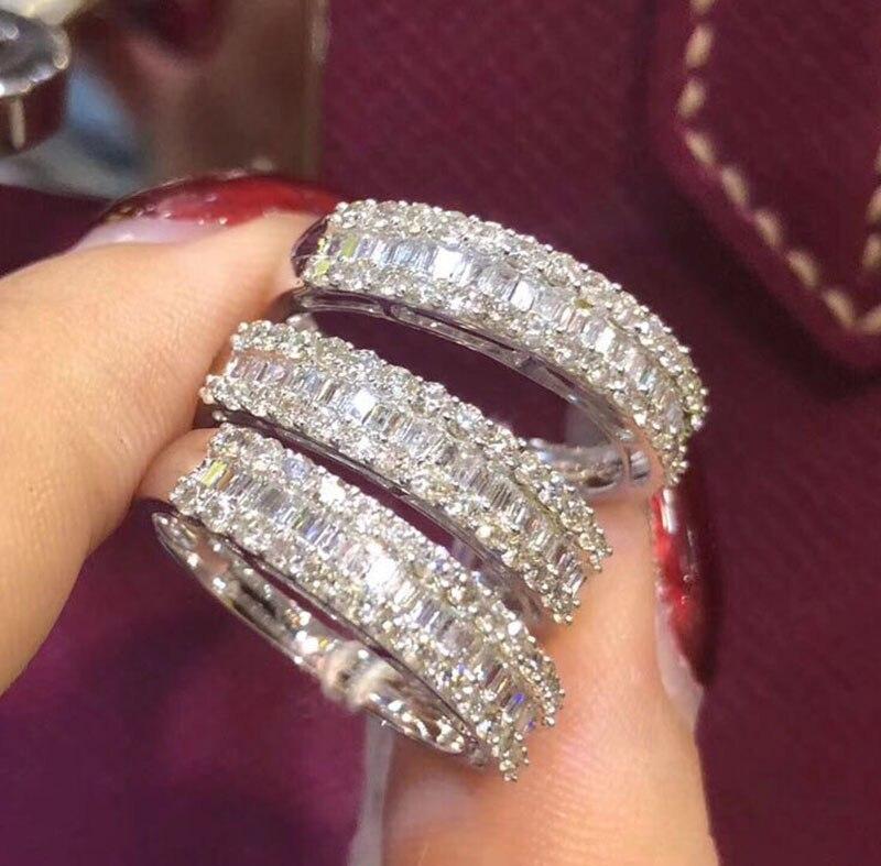 الزفاف 100% مويسانيتي الماس خاتم حقيقية 18K 750 الأبيض الذهب D اللون VVS مو 003-في خواتم من الإكسسوارات والجواهر على  مجموعة 3