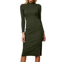 9acfea59617 Осень-зима эластичные тонкие Для женщин сексуальная женщина платье с длинным  рукавом Твердые Кнопка вязаный