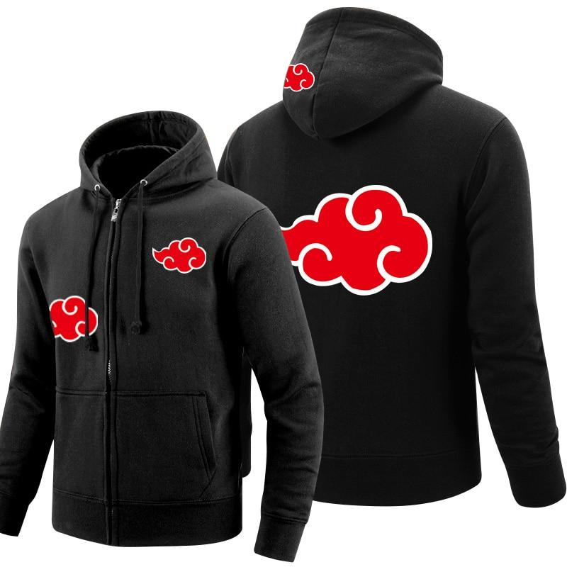 Cloud fire Naruto Hoodie 2017 Uchiha Sasuke Cosplay coat Uzumaki Akatsuki jacket winter thick zipper men'sHooded hoodie clothing