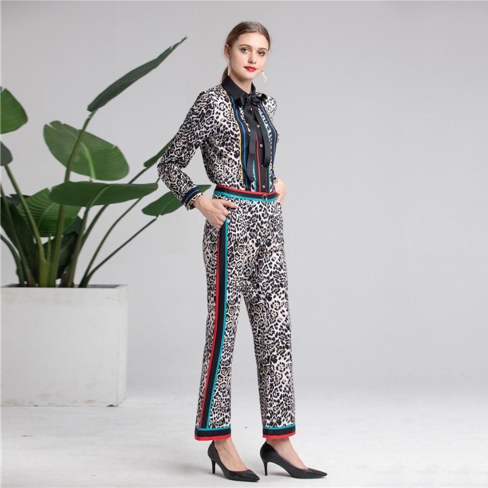 Imprimées Supérieure Pièces Deux Vêtements Qualité Léopard Costume Pantalon Truevoker Printemps Designer Femmes Ensemble De Blouses qHx7RTR