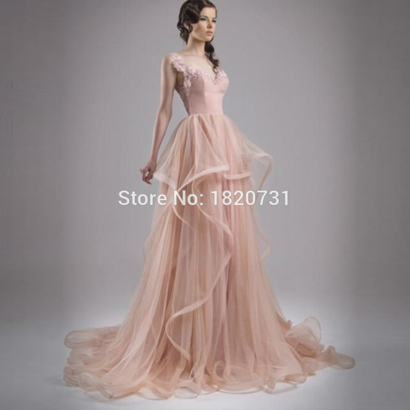 2019 New Fashion Pink Prom Party Dresses V-neck Backless Sleeveless Tulle Applique Ruffles Fiesta Prom Evening Gown A-line Easy To Use