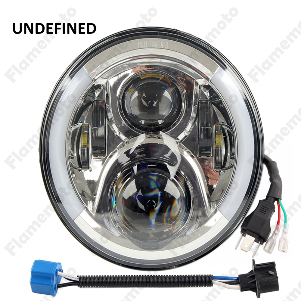 New Chrome 7 LED Projector Motorcycle Daymaker Fog Head Light Lamp Hi/Lo For Harley Touring -G UNDEFINED free shipping hot sale for kawasaki z900 z 900 motorcycle accessories rear brake fluid reservoir cap oil cup