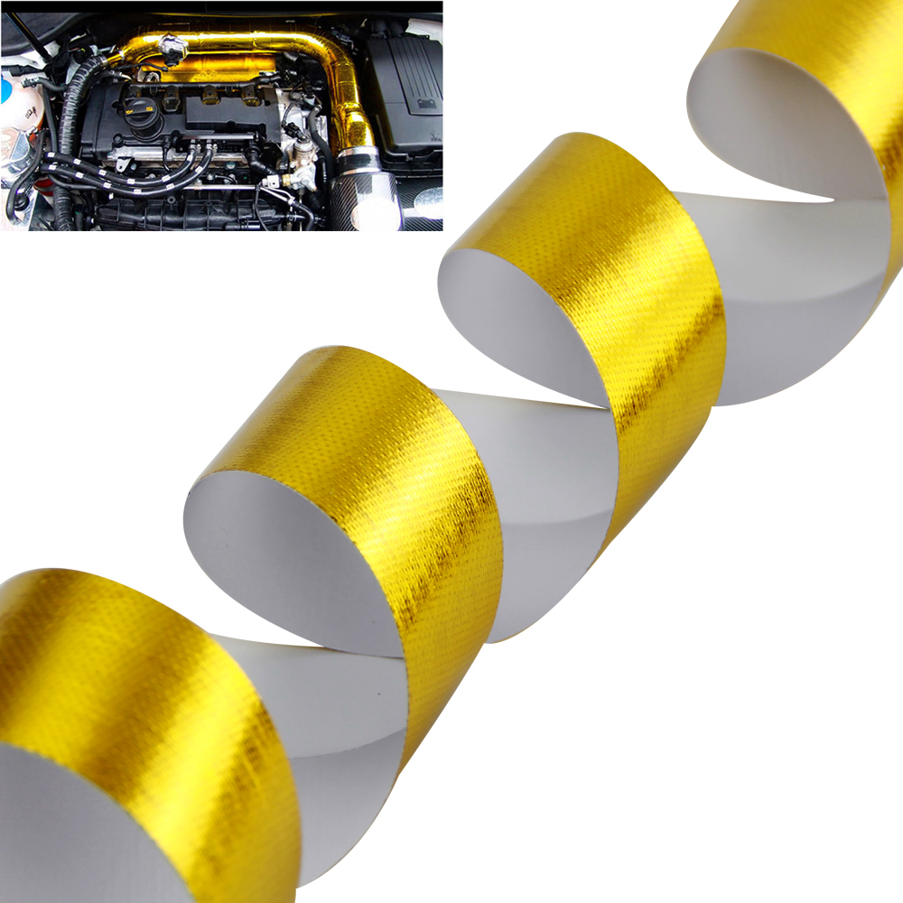 Thermal-Exhaust-Tape Wrap Shield Heat-Barrier Engine Heat-Insulation Gold 2inch Self-Adhesive