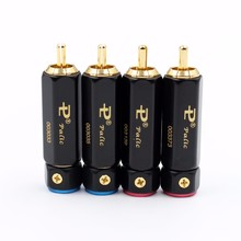 8pcs Palic High Quality Gold Plated RCA Plug Lock Collect Solder A/V Connector