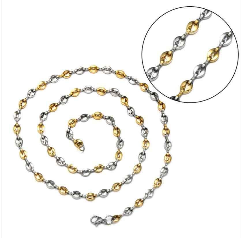 2019 NEW HIP Hop width 5MM 21cm/60cm stainless steel gold and silver coffee bean chain Bracelet necklace men's jewelry