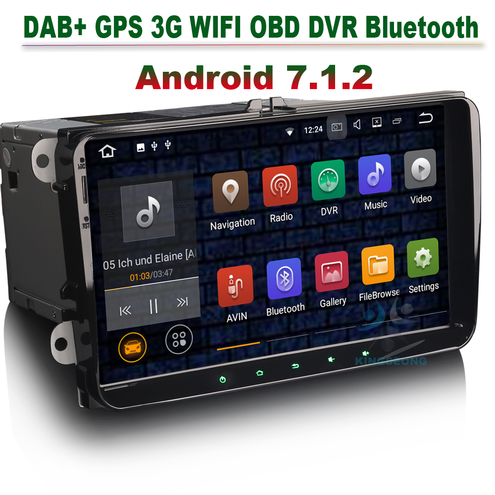 Android 7.1.2 Car GPS Navigation Autoradio DAB+ 3G WIFI OBD For VW Passat Golf Tiguan Touran Jetta Caddy Skoda Seat Altea Toledo