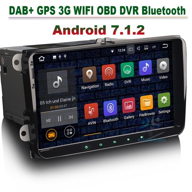 Android 7.1.2 Car GPS Navigation Autoradio DAB+ 3G WIFI OBD For VW Passat Golf Tiguan Touran Jetta Caddy Skoda Seat Altea Toledo