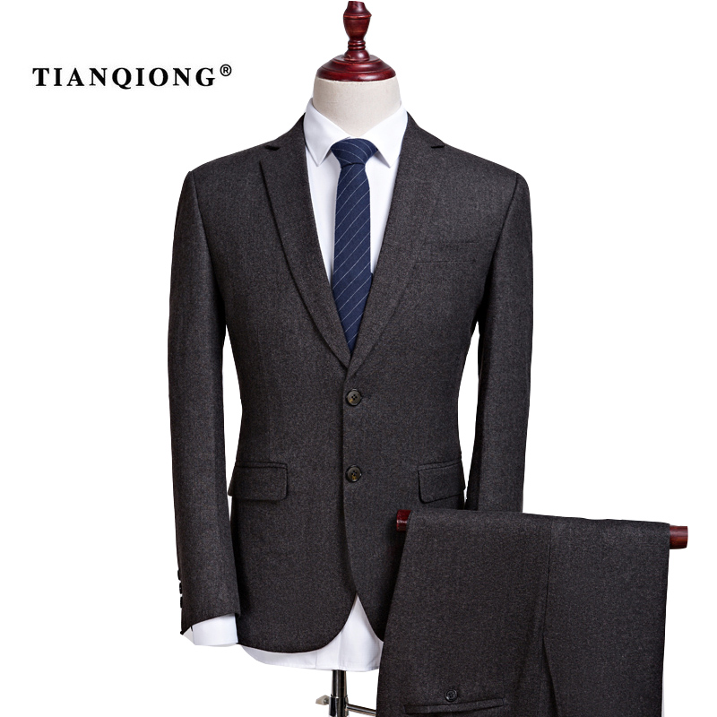 TIAN QIONG Cheap Mens Formal Two Piece Blazer Suit Slim Business Occupation Dress Groom Wedding Terno Masculino (Jackets+Pants)